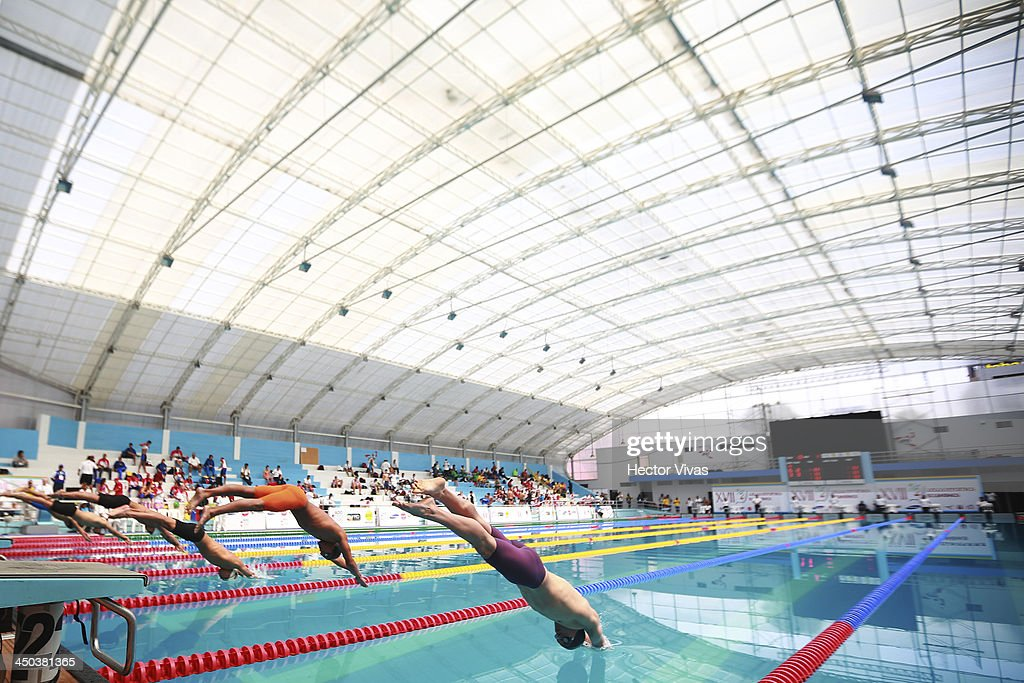 General view of the 200 meters butterfly swimming competition as part of the XVII Bolivarian Games Trujillo 2013 at pools complex of Mansiche Stadium on November 18, 2013 in Trujillo, Peru.