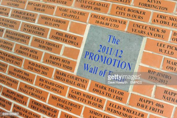 A general view of The 2011/12 Promotion Wall of Fame at Hillsborough stadium home of Sheffield Wednesday