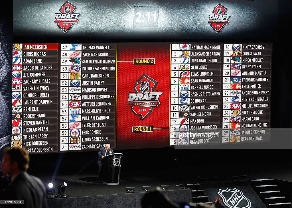 A general view of the 2013 NHL Draft board after the first and second rounds during the 2013 NHL Draft at Prudential Center on June 30, 2013 in Newark, New Jersey.