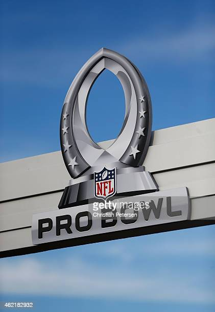 A general view of the 2015 Pro Bowl logo outside the University of Phoenix Stadium on January 25 2015 in Glendale Arizona