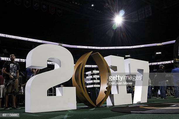 A general view of the 2017 College Football Playoff logo in the middle of Amalie Arena floor during the Alabama Crimson Tide's Media Day before the...