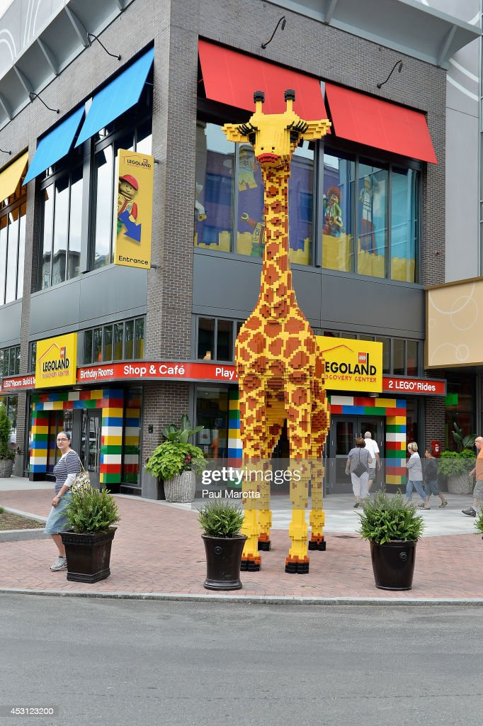 A general view of the 20ft tall 2,000lb giraffe made entirely of Lego bricks at the Legoland Discovery Center in the Boston Suburb of Somerville, MA on August 3, 2014.