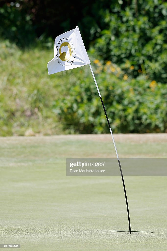 A general view of the 2nd green and flag as the strong wind blows and halts play during Day One of the Africa Open at East London Golf Club on February 14, 2013 in East London, South Africa.