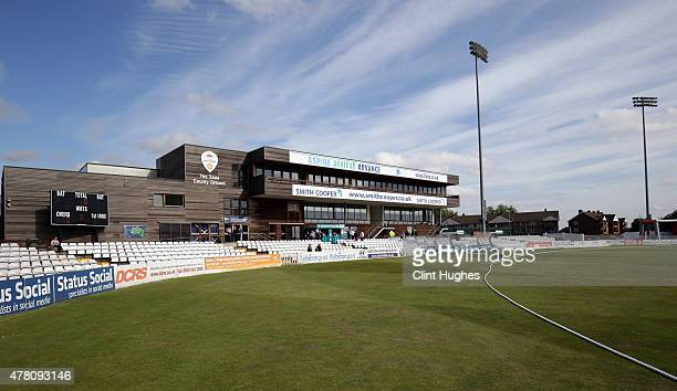 A general view of the 3aaa County Ground during the Natwest T20 Blast match between Derbyshire Falcons and Leicestershire Foxes at the 3aaa County...