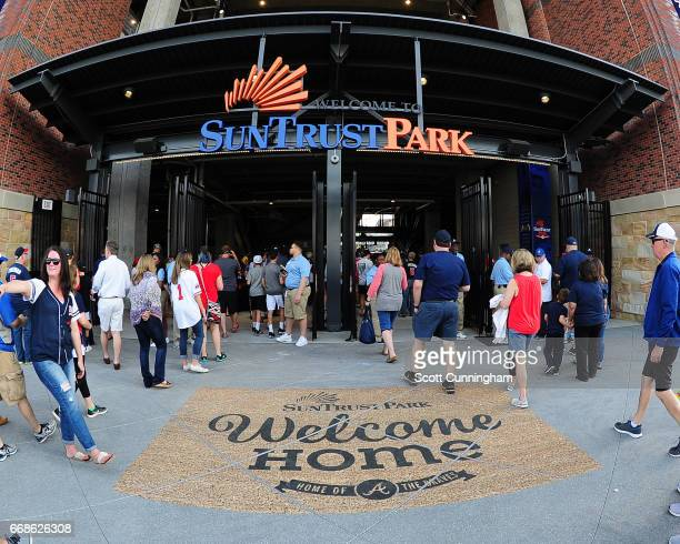 A general view of the 3rd base entry to SunTrust Park before the game between the Atlanta Braves and the San Diego Padres on April 14 2017 in Atlanta...