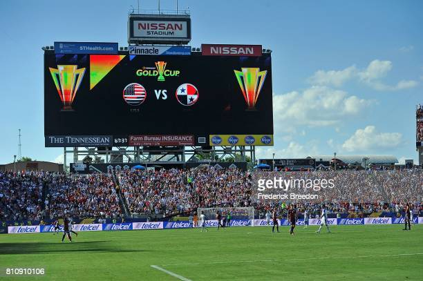 A general view of the 47622 fans attending a CONCACAF Gold Cup Soccer match between USA and Panama at Nissan Stadium on July 8 2017 in Nashville...