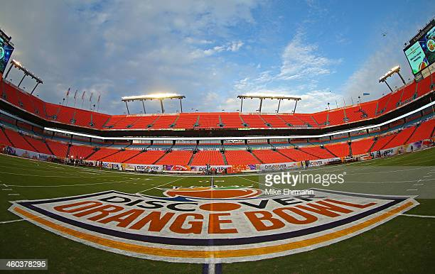 A general view of the 50 yard line logo prior to the Discover Orange Bowl between the Clemson Tigers and the Ohio State Buckeyes at Sun Life Stadium...