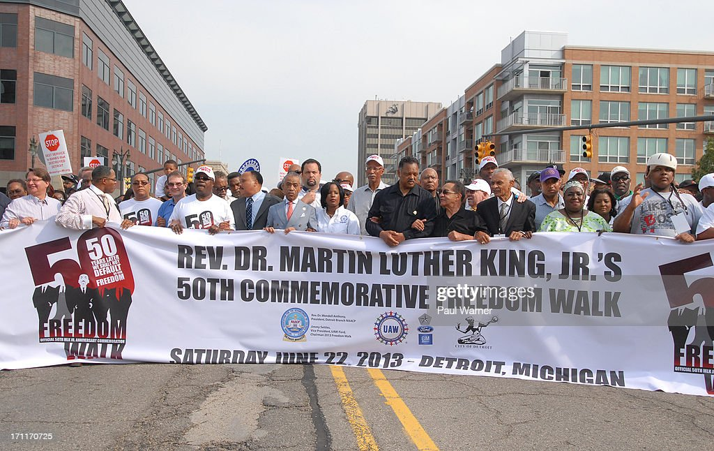 General view of the 50th Anniversary Freedom March on June 22, 2013 in Detroit, Michigan.