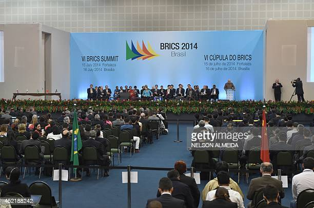 General view of the 6th BRICS summit in Fortaleza Brazil on July 15 2014 Leaders of the BRICS group of emerging powers gathered in Brazil on Tuesday...