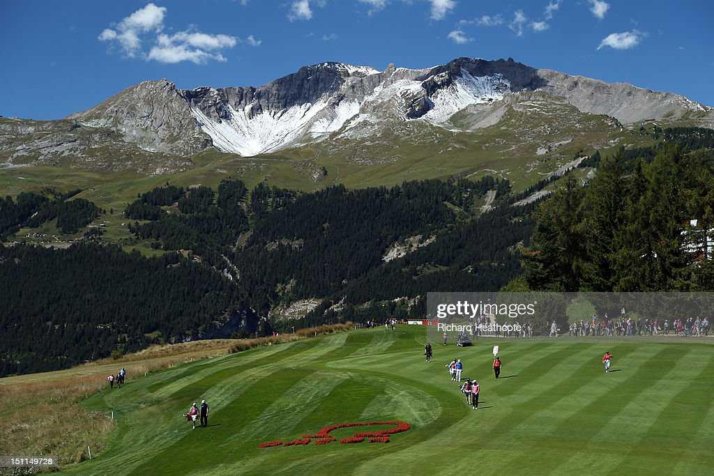 A general view of the 7th as the final group walk down the fairway during the final round of the Omega European Masters at Crans-sur-Sierre Golf Club on September 2, 2012 in Crans, Switzerland.