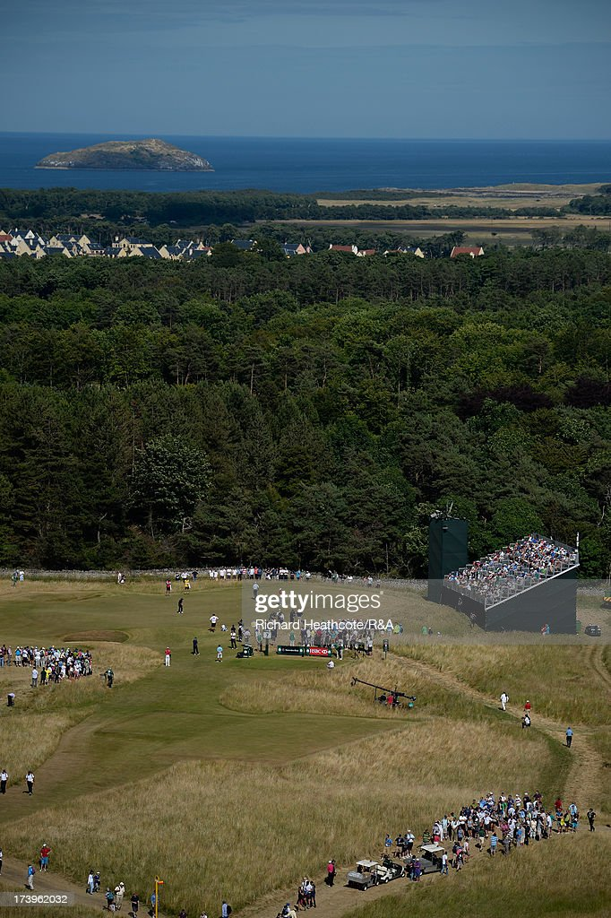 A general view of the 7th tee with the 6th green behind during the first round of the 142nd Open Championship at Muirfield on July 18, 2013 in Gullane, Scotland.
