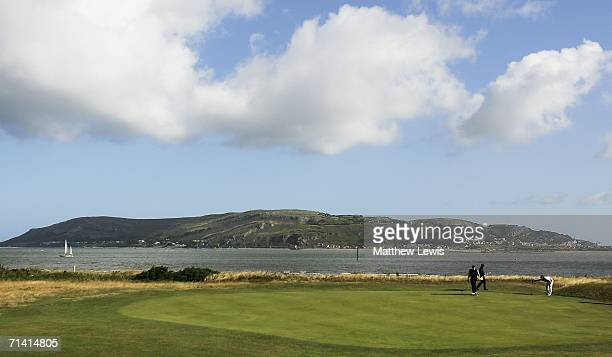 A general view of the 9th green with Conwy Bay in the distance during the Open Championship Qualifing round at Conwy Golf Club on July 11 2006 in...