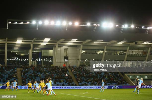 A general view of the Academy Stadium is seen as Steph Houghton of Manchester City Women takes a free kick during the UEFA Women's Champions League...