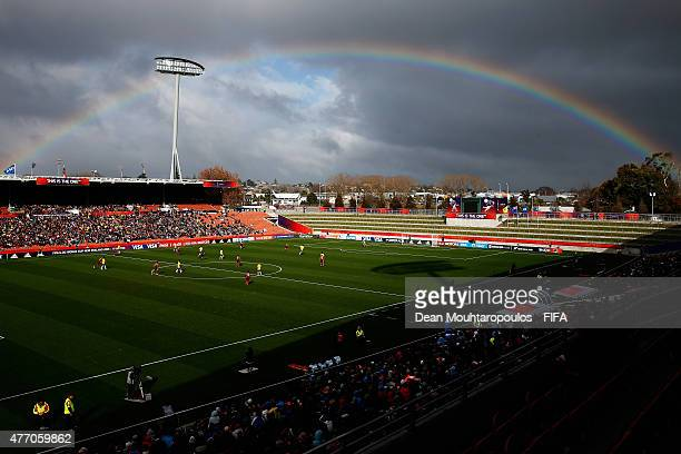 A general view of the action as a rainbow fills the sky during the FIFA U20 World Cup New Zealand 2015 quarter final match between Brazil and...