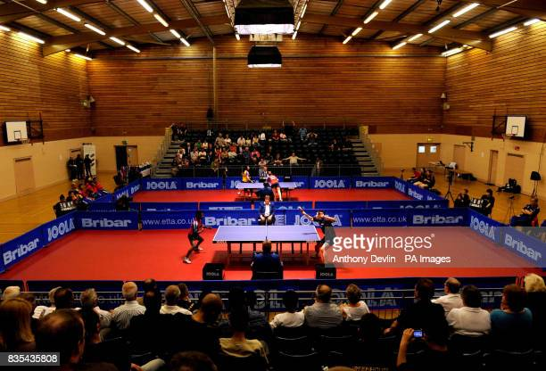 General view of the action as England play India during India's Table Tennis Tour at Dormers Wells Leisure Centre in Southall London