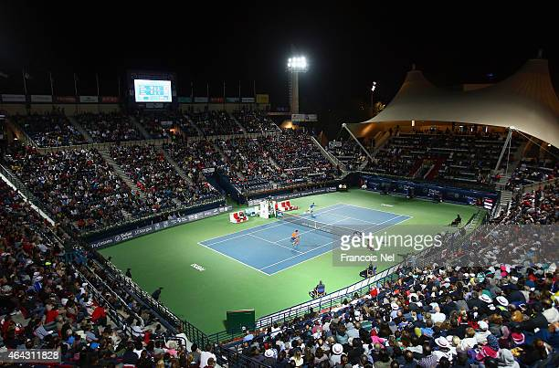 A general view of the action as Novak Djokovic of Serbia plays against Vasek Pospisil of Canada during day two of the ATP Dubai Duty Free Tennis...