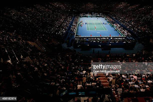 A general view of the action as Roger Federer of Switzerland plays against Milos Raonic of Canada in their quarterfinal match during day 5 of the BNP...