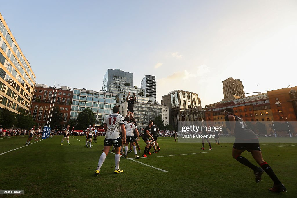 A general view of the action as Saracens win the line out during the pre season friendly match between Saracens and London Scottish FC at Honourable...
