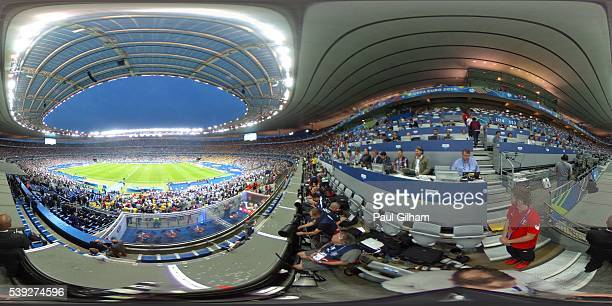 A general view of the action as the 2nd half gets underway during the UEFA Euro 2016 Group A match between France and Romania at Stade de France on...