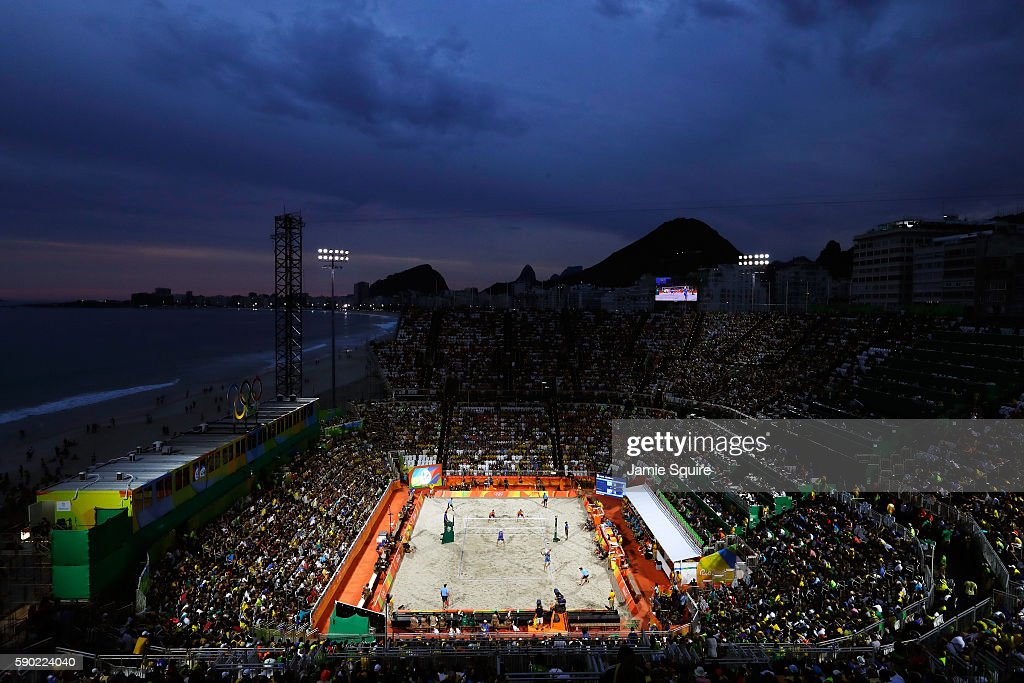 A general view of the action between Alexander Brouwer and Robert Meeuwsen of Netherlands and Alison Cerutti and Bruno Oscar Schmidt of Brazil during the beach volleyball Men's Semifinal on Day 11 of the Rio 2016 Olympic Games at the Beach Volleyball Arena on August 16, 2016 in Rio de Janeiro, Brazil.