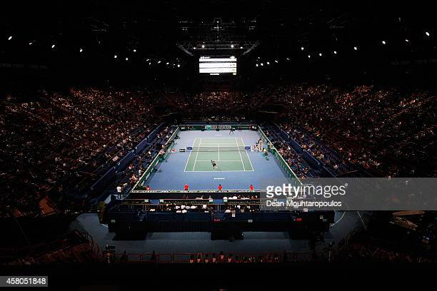 A general view of the action between JoWilfried Tsonga of France and Jurgen Melzer of Austria during day 3 of the BNP Paribas Masters held at the at...