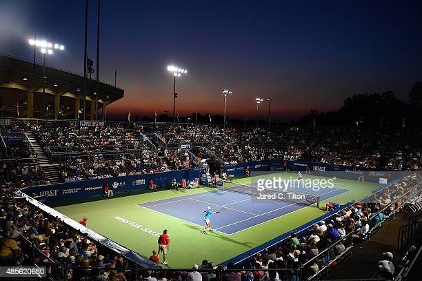A general view of the action between Kevin Anderson of South Africa and Malek Jaziri of Tunisia during the fifth day of the WinstonSalem Open at Wake...