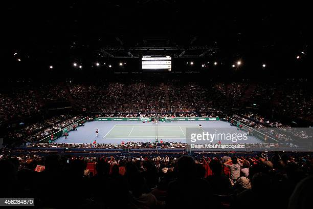 A general view of the action between Novak Djokovic of Serbia and Milos Raonic of Canada in their Final match during day 7 of the BNP Paribas Masters...