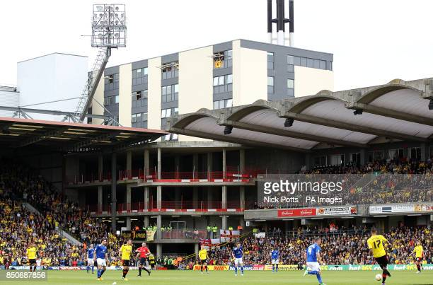 General view of the action between Watford and Leicester City