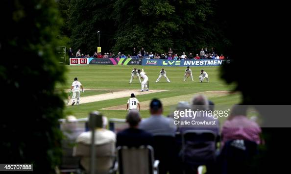 A general view of the action during day one of the LV County Championship match between Sussex and Yorkshire at The Arundel Castle Cricket Ground on...