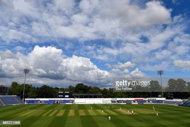 A general view of the action during Day One of the Specsavers County Championship Divsion Two match between Glamorgan and Nottinghamshire at SWALEC...