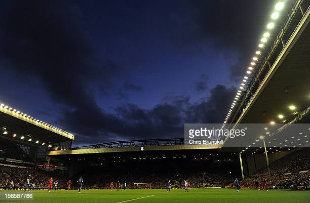A general view of the action during the Barclays Premier League match between Liverpool and Wigan Athletic at Anfield on November 17 2012 in...