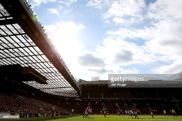 A general view of the action during the Barclays Premier League match between Manchester United and Aston Villa at Old Trafford on April 4 2015 in...