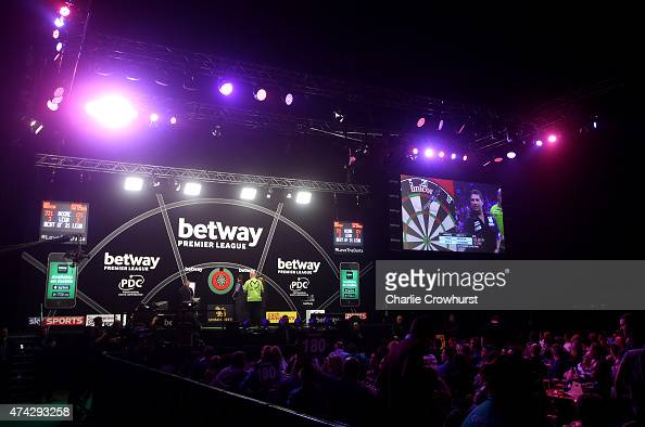 A general view of the action during the Betway Premier League at The 02 Arena on May 21 2015 in London England