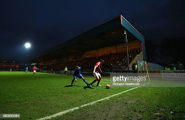 A general view of the action during the FA Cup Third Round match between Rochdale and Nottingham Forest at Spotland Stadium on January 3 2015 in...
