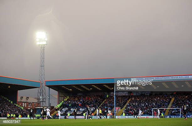 A general view of the action during the FA Cup with Budweiser Fourth Round match between Rochdale and Sheffield Wednesday at Spotland on January 25...