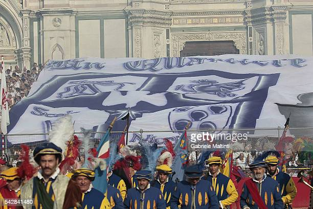 A general view of the action during the final match between the Santa Croce Blue Team and the Santo Spirito White Team at Piazza Santa Croce on June...