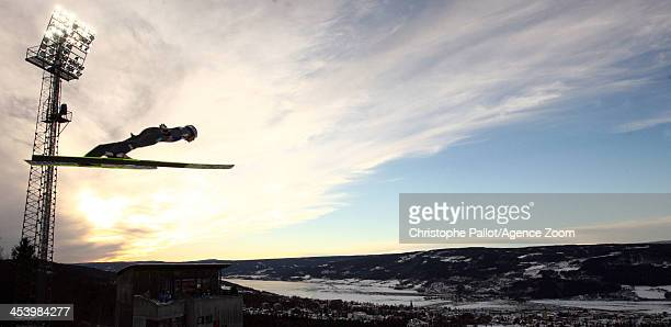 General view of the action during the FIS Ski Jumping World Cup Mixed Team HS100 on December 06 2013 in Lillehammer Norway
