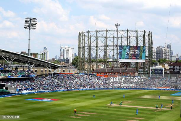A general view of the action during the ICC Champions Trophy Final match between India and Pakistan at The Kia Oval on June 18 2017 in London England