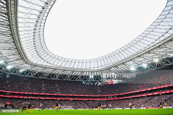 General view of the action during the La Liga match between Athletic Club and Club Atletico de Madrid at San Mames stadium on January 22 2017 in...
