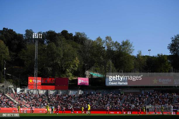 General view of the action during the La Liga match between Girona and Villarreal at Estadi de Montilivi on October 15 2017 in Girona Spain