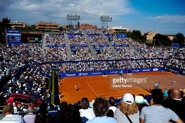 General view of the action during the match between Rafael Nadal of Spain and Philipp Kohlschreiber of Germany during day six of the Barcelona Open...