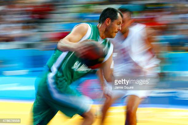 A general view of the action during the Men's 3x3 Basketball bronze medal match between Slovenia and Serbia on day fourteen of the Baku 2015 European...