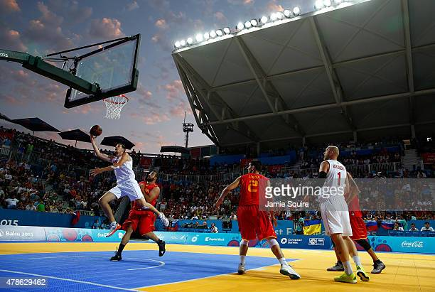 A general view of the action during the Men's 3x3 Basketball gold medal match between Russia and Spain on day fourteen of the Baku 2015 European...