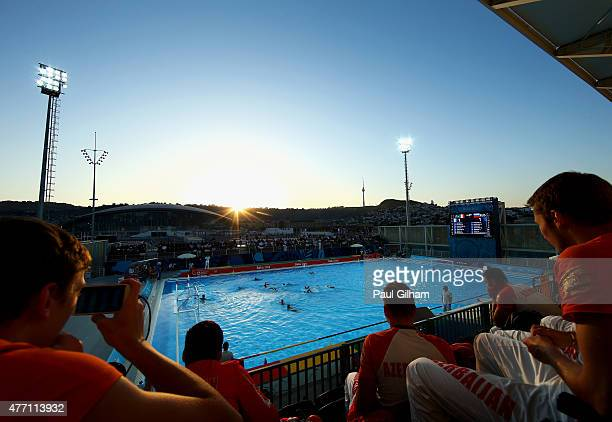 A general view of the action during the Men's Water Polo Group Round Group B Match between Italy and Russia during day two of the Baku 2015 European...