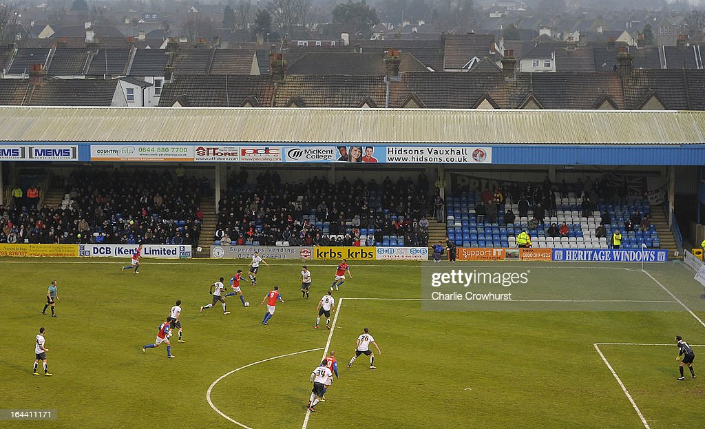 A general view of the action during the npower League Two match between Gillingham and Accrington Stanley at The Priestfield Stadium on March 23, 2013 in Gillingham, England.