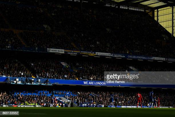 General view of the action during the Premier League match between Chelsea and Watford at Stamford Bridge on October 21 2017 in London England