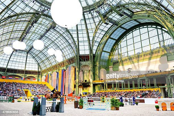 A general view of the action during the Prix Hermes Sellier during the first day of the Grand Prix Hermes of Paris at Grand Palais on March 14 2014...