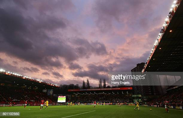A general view of the action during the Sky Bet Championship match between Charlton Athletic and Leeds United at The Valley on December 12 2015 in...
