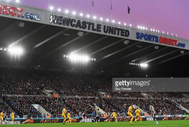A general view of the action during the Sky Bet Championship match between Newcastle United and Preston North End at St James' Park on April 24 2017...