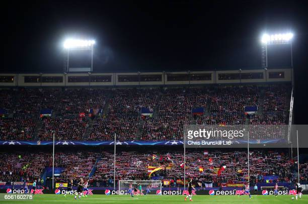 A general view of the action during the UEFA Champions League Round of 16 second leg match between Club Atletico de Madrid and Bayer Leverkusen at...